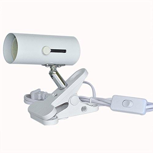 クリップスタンド スイッチ付き ランプホルダーライトソケット植物育成 爬虫類用照明器具専用スタンド (白)