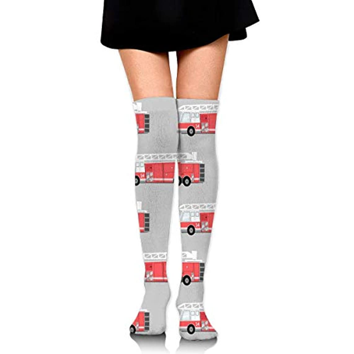 スクレーパーによると大使館MKLOS 通気性 圧縮ソックス Breathable Classic Warmer Tube Leg Stockings Firetruck Exotic Psychedelic Print Compression High...