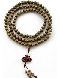 8mm 108個 グリーン サンダルウッド ビーズ チベット 仏教 祈祷 瞑想 マーラー ネックレス