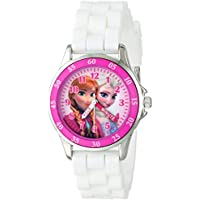 Disney Kids' FZN3550 Frozen Anna and Elsa Watch with White Rubber Band