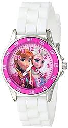 ディズニー Disney Kids' FZN3550 Frozen Anna and Elsa Watch with White Rubber Band [並行輸入品]