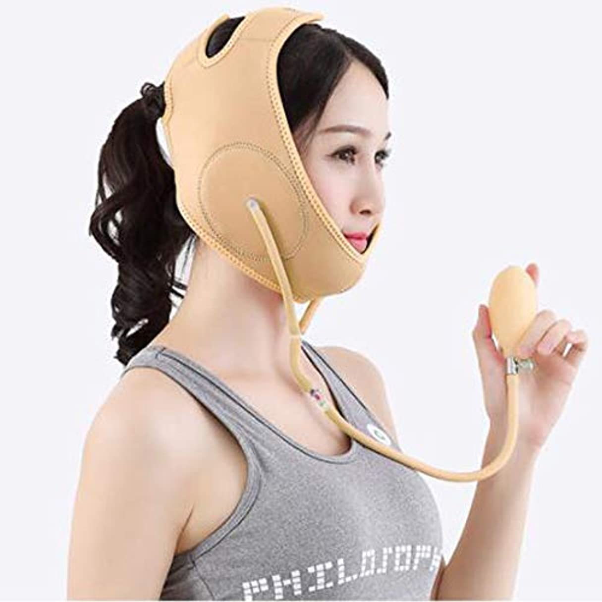 悪意のある速い吸うMinmin フェイシャルリフティング痩身ベルトダブルエアバッグ圧力調整フェイス包帯マスク整形マスクが顔を引き締める みんみんVラインフェイスマスク (Color : Beige, Size : M)