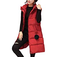Macondoo Women's Retro Jacket Puffer Hoodies Waistcoat Zipper Pompom Quilted Packable Vest