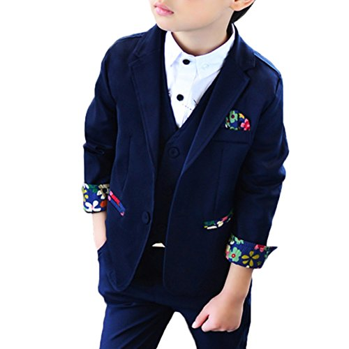Snone子供スーツ 男の子スーツ フォーマルスーツ 3点セット 花柄 子供タキシード 男の子 キッ...