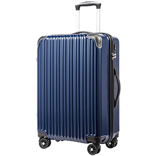 [クールライフ] COOLIFE スーツケース キャリーバッグダブルキャスター 一年安心保証 機内持込 ファスナー式 人気色 超軽量 TSAローク (M サイズ(24in), ネービー)
