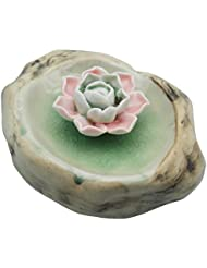 TrendBoxセラミックハンドメイドrock-shaped Artistic Incense Holder BurnerコイルOil Diffuser Lotus AshキャッチャーBuddhist Water Lily...