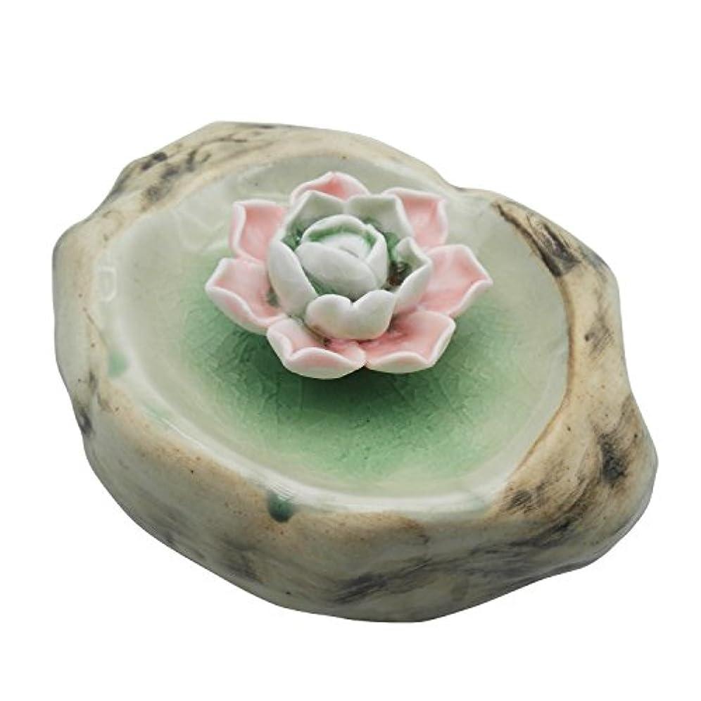赤完全に花輪TrendBoxセラミックハンドメイドrock-shaped Artistic Incense Holder BurnerコイルOil Diffuser Lotus AshキャッチャーBuddhist Water Lily...