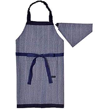 fa7b0b4879eb93 子供用 エプロン130-160 三角巾付きピンストライプ・インディゴ N1230630