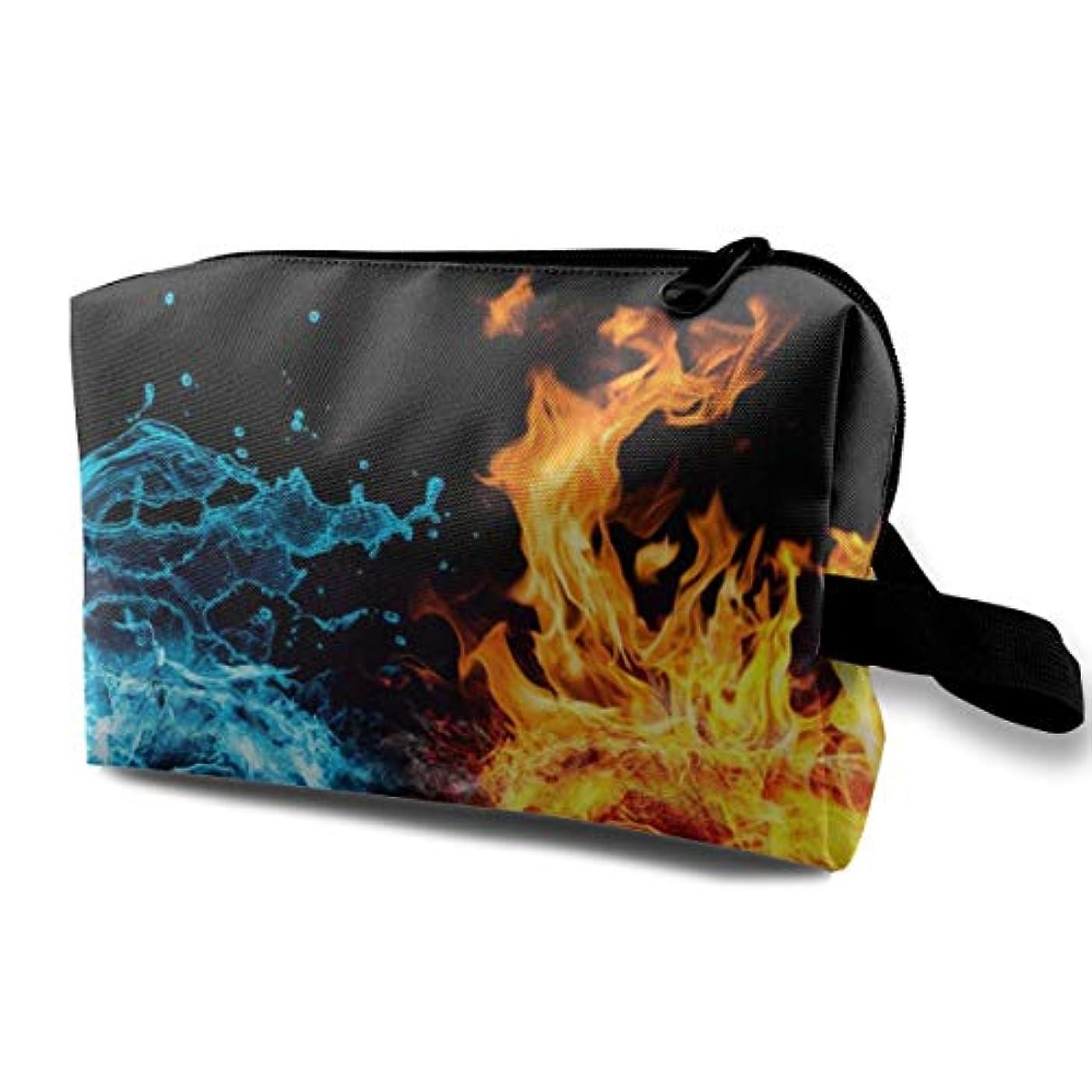 精巧なビジネス線Fist Fire Water 収納ポーチ 化粧ポーチ 大容量 軽量 耐久性 ハンドル付持ち運び便利。入れ 自宅?出張?旅行?アウトドア撮影などに対応。メンズ レディース トラベルグッズ