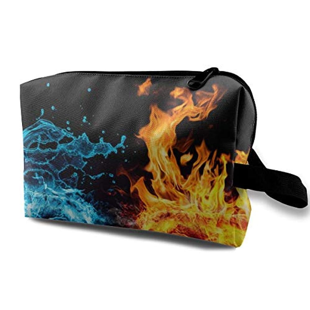 本体彫刻家想像力豊かなFist Fire Water 収納ポーチ 化粧ポーチ 大容量 軽量 耐久性 ハンドル付持ち運び便利。入れ 自宅?出張?旅行?アウトドア撮影などに対応。メンズ レディース トラベルグッズ