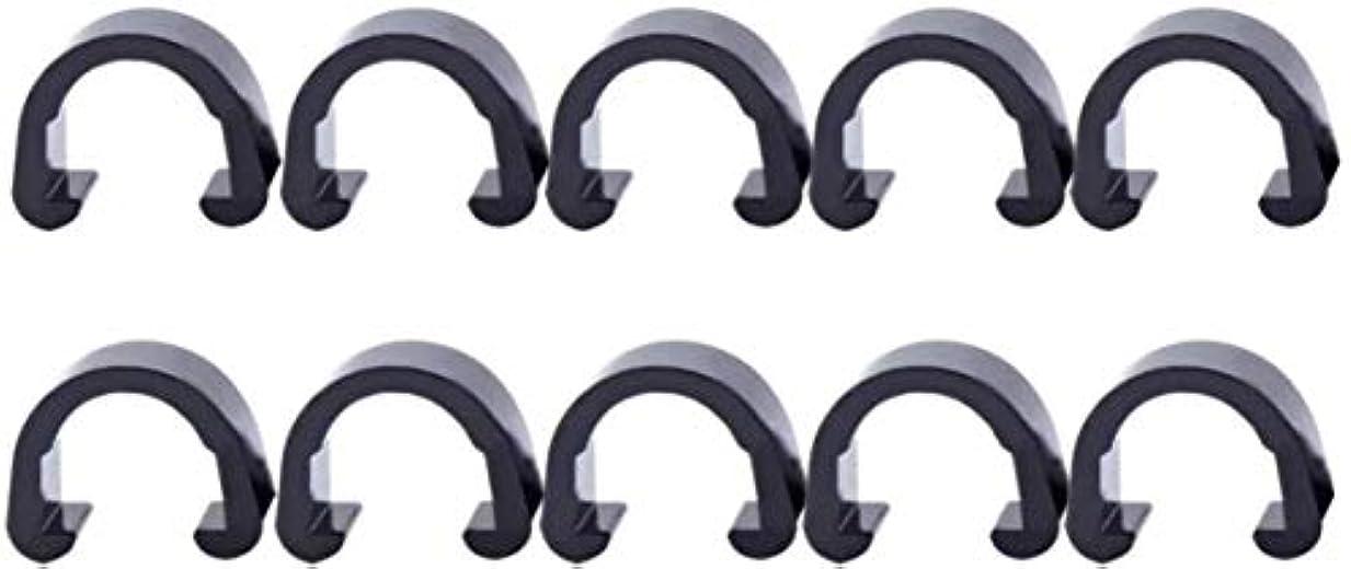 会議保安ヒギンズ丈夫な 10個入りメタルCクリップクランプUクリップ自転車ブレーキギヤケーブルハウジングは自転車自転車MTBについてホルダーを固定 簡単な (Color : Black)