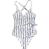 CUPSHE Women's Court and Spark Fresh Leaves Print Cross Bikini Set Push Up Swimwear