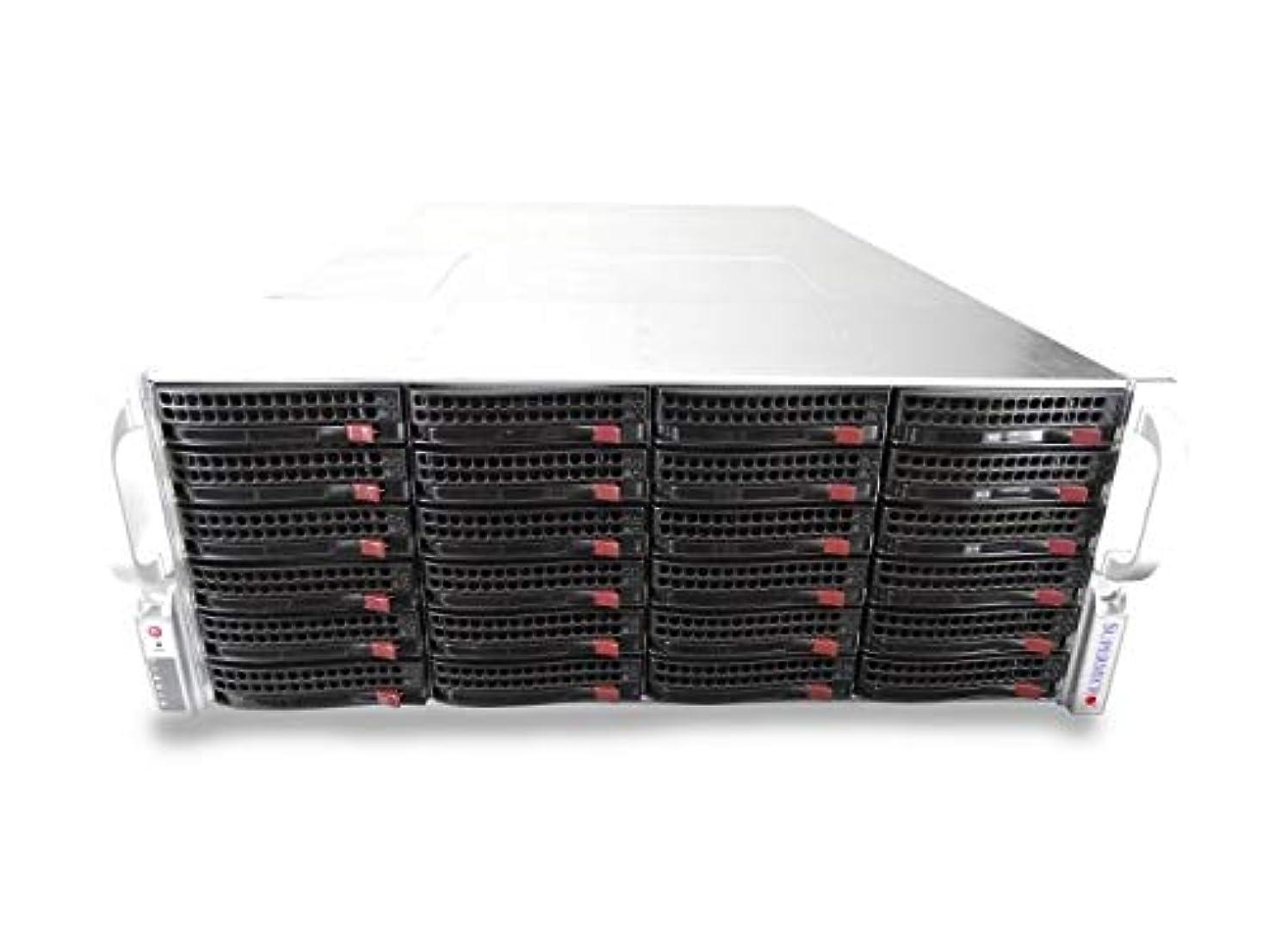 発言する近々マーチャンダイジングSupermicro CSE-846 4U ラックマウントサーバー X9DRi-F 2xXeon E5-2667 2.9GHz 6 コア 256GB DDR3, LSI 9266-8i 24x 480GB SATA 6Gbps 2.5 SSDs 1200W PSU、レール付属 (認定整備済み)