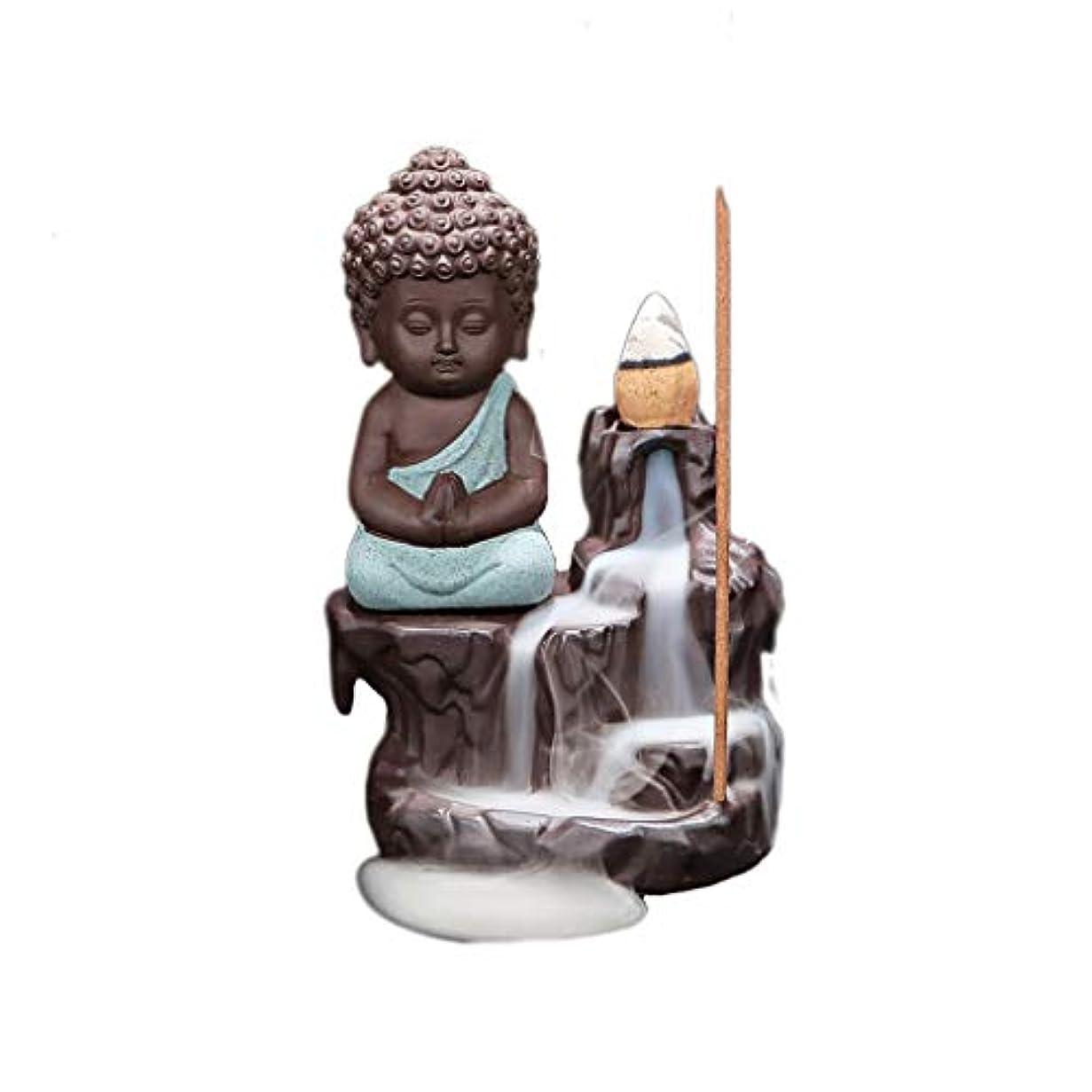 ファームお風呂を持っている好み逆流リトルモンク仏陀香炉バーナーコーンスティックホルダーホームセラミック香ホルダーアッシュキャッチャー (Color : Green, サイズ : 4.88*3.22 inches)