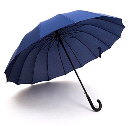 clara lapis 傘 長傘 大きい 16本骨 ジャンプ傘 ジャンプ 撥水加工 おしゃれ 16本骨長傘 晴雨兼用 レディース メンズ 120センチ (ブルー)