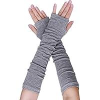 uxcell® Women Arm Warmer Elbow Length Gloves Knitted Thumbholes Fingerless