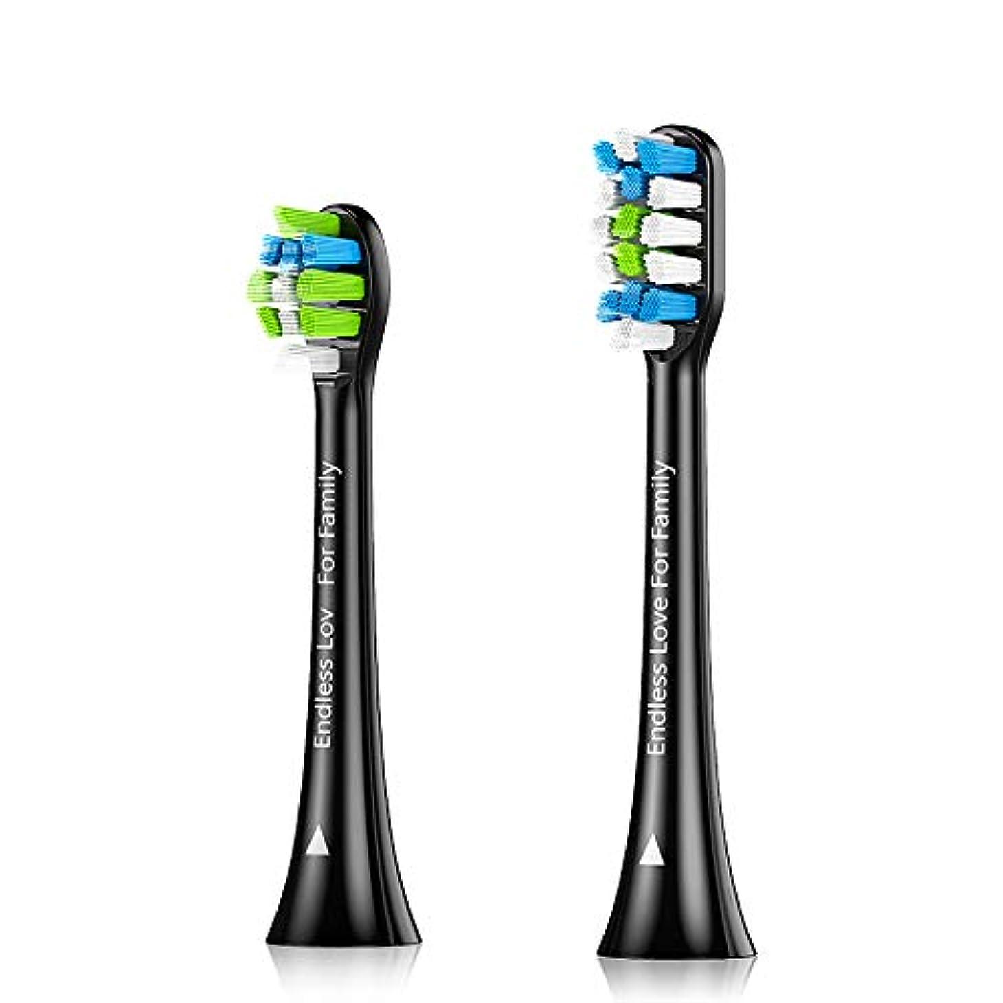 赤外線憂鬱なわなProscenic 電動歯ブラシ 替えブラシ2本 サイズ分け (ブラック)