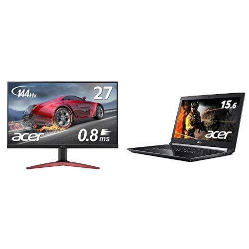 モニター+PCセット Acer ゲーミングモニター KG271Ebmidpx 27インチ 144hz 0.8ms TN フルHD 非光沢 フレームレス + Acer ゲーミングノートパソコン Core i7-8750H 16GB 256GB SSD+1TB HDD GTX1050Ti ドライブなし 15.6型 Win10 A715-72G-F76H