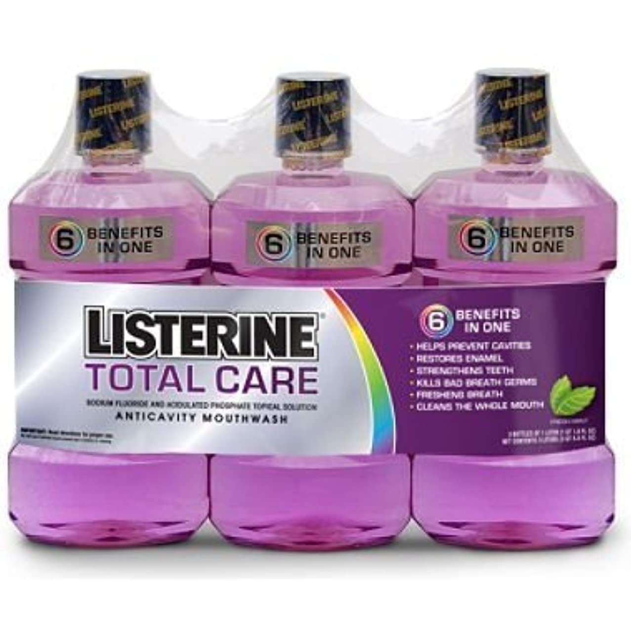 パーチナシティ現実小麦Listerine Total Care Mouthwash - Fresh Mint - 3 pk. by Deep Discount Center