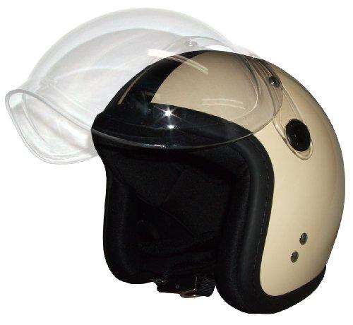 FS アイボリーブラックライン バブルシールド ジェットヘルメット B0089SMXIW 1枚目