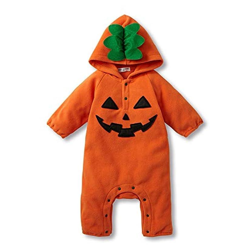 ファーザーファージュ月曜日訴えるFairy Baby かぼちゃ着ぐるみロンパース ベビーつなぎ 長袖 ふわふわ ハロウィン 80/66cm オレンジ