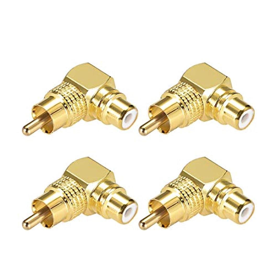 軽コミットメントアクセルuxcell RCAオス-メス 90度コネクタ 金メッキ銅 ステレオオーディオビデオケーブルアダプターカプラー 4個