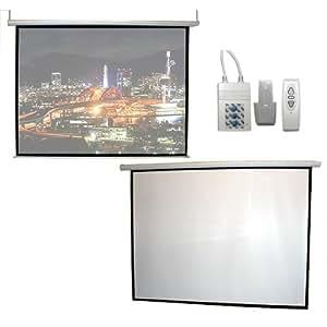 高画質プロジェクタースクリーン 100型 電動格納リモコン ホームシアター 吊り下げ式 フルハイビジョン