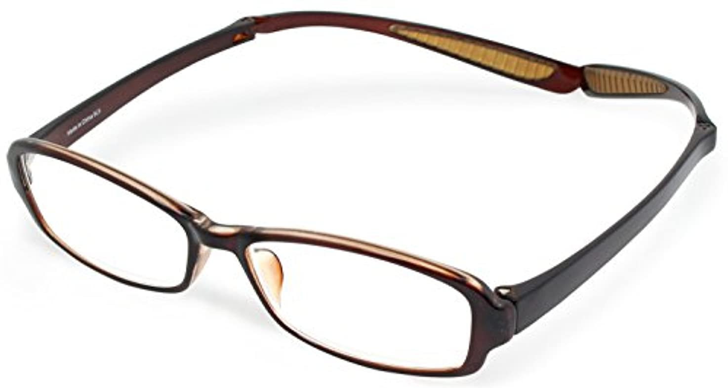 バイオリンネクタイペレットデューク 老眼鏡 首掛け +1.5 度数 ネオクラシック ネックハグ ソフトケース付き ブラウン GLR-21-3+1.50