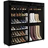 UDEAR Shoe Rack Portable Storage Free Standing Shoe Organizer with Non-Woven Fabric Cover Black #1