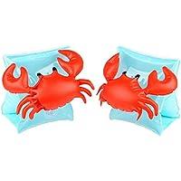 アームリング (25kg以下)子供用浮き輪 (浮輪) インフレータブルアームバンド 腕輪 アームヘルパー 2個セット 水泳用品 蟹形 (ブルー)