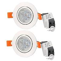 uxcell ドライバー付きダウンライト AC85-265V 3W LED電球 ナイトライツ ホワイト 2個入り