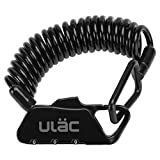 ULAC(ユーラック)ワイヤーロック 自転車 鍵 チェーンロック 旅行 バイク ダイヤル 盗難防止 多機能 携帯便利 四つ色(黒)