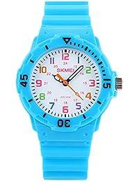 クールな水色の子供たちは、柔らかいシリコーン時計バンドカラフルな男の子の時計で簡単に読み取りクォーツ時計を見て