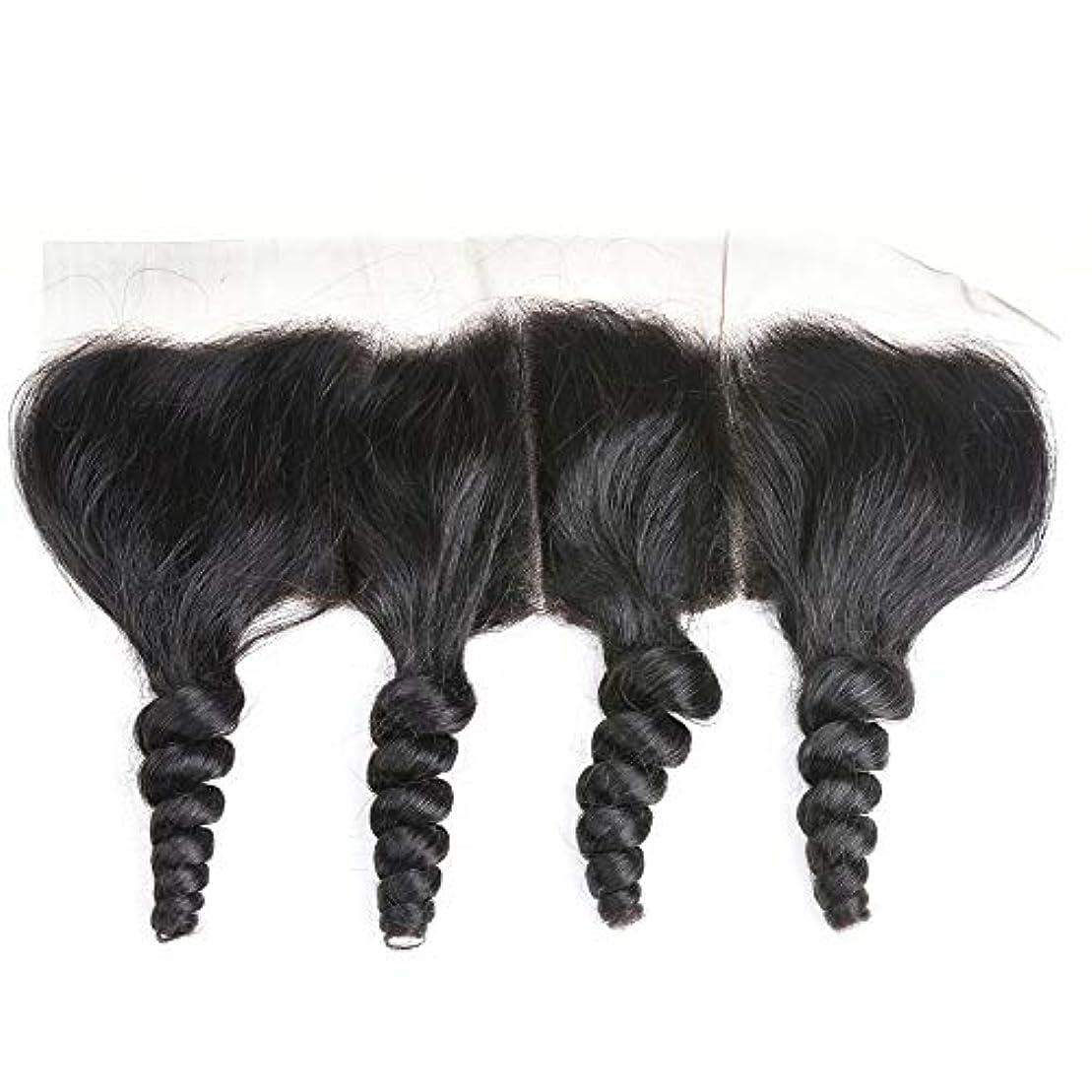 浴神子犬WASAIO ブラジルの人間の髪の毛のレースの正面閉鎖ルーズウェーブ13 x 4インチレース閉鎖自然色 (色 : 黒, サイズ : 10 inch)
