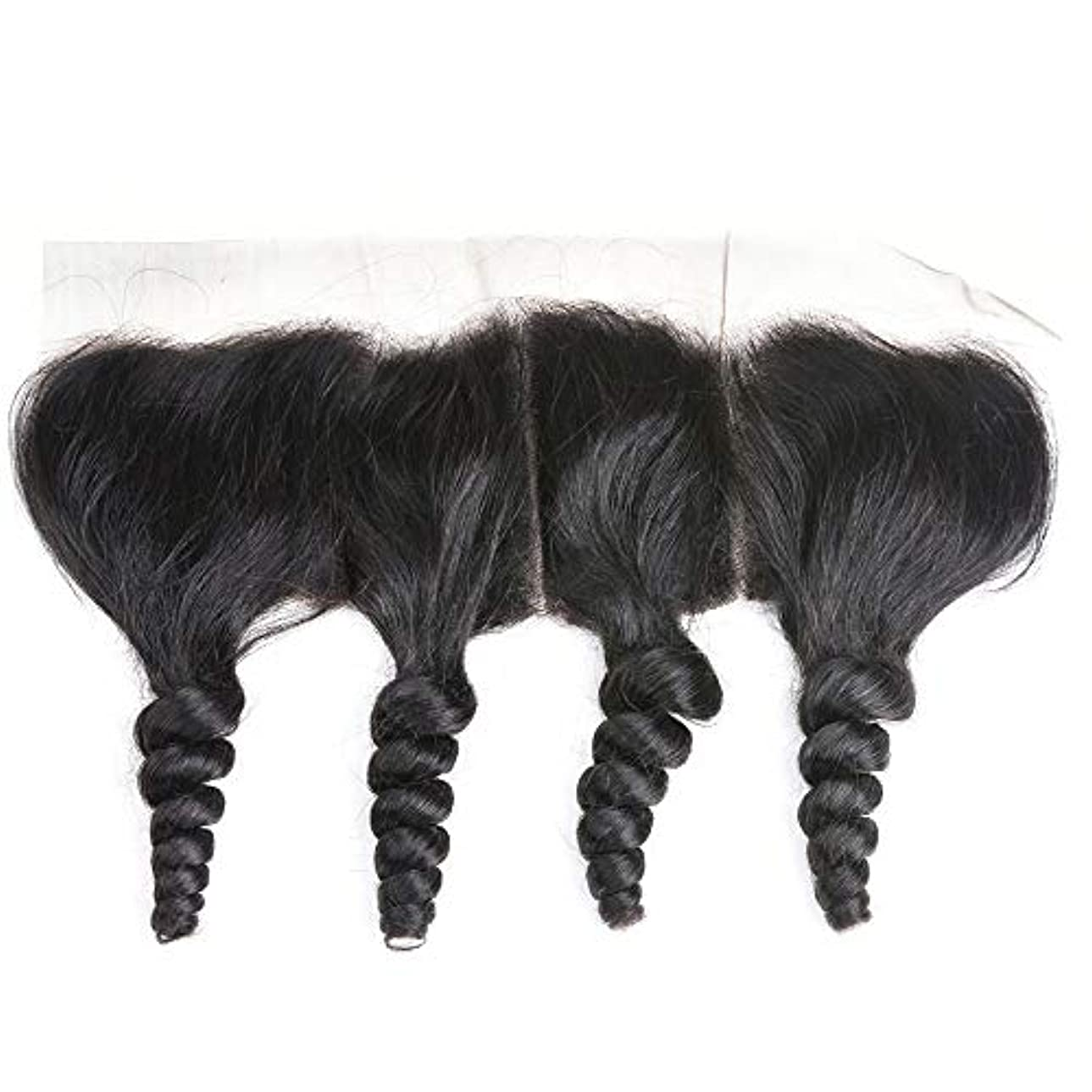 石鹸レンチ混乱WASAIO ブラジルの人間の髪の毛のレースの正面閉鎖ルーズウェーブ13 x 4インチレース閉鎖自然色 (色 : 黒, サイズ : 10 inch)