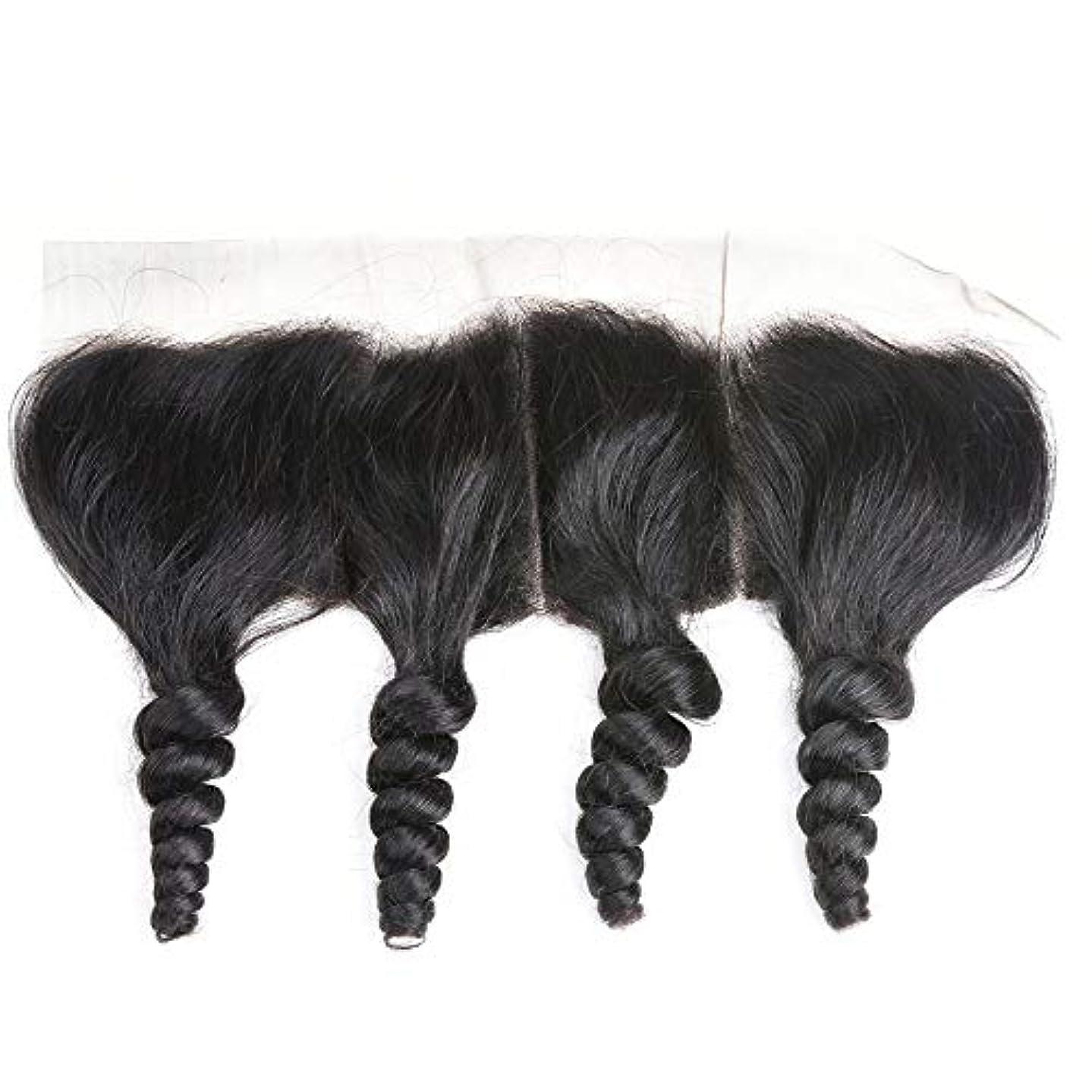 一般化する膿瘍無しWASAIO ブラジルの人間の髪の毛のレースの正面閉鎖ルーズウェーブ13 x 4インチレース閉鎖自然色 (色 : 黒, サイズ : 10 inch)