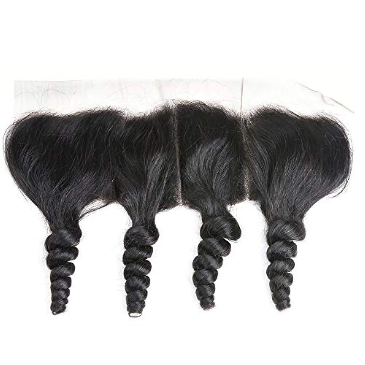 電子レンジスペインタイルWASAIO ブラジルの人間の髪の毛のレースの正面閉鎖ルーズウェーブ13 x 4インチレース閉鎖自然色 (色 : 黒, サイズ : 10 inch)