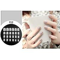 FidgetFidget 24個のシンプルなソリッドカラーの偽のつま先の爪ステッカー偽の爪のヒント F12