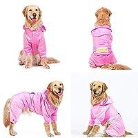 犬用ペットレインコート ビッグドッグレインコート黄金の髪防水ポンチョラブラドール中大犬ペットオールインクルーシブの服四本足のレインコート ペットレインコート反射 (色 : Pink, Size : 5XL)