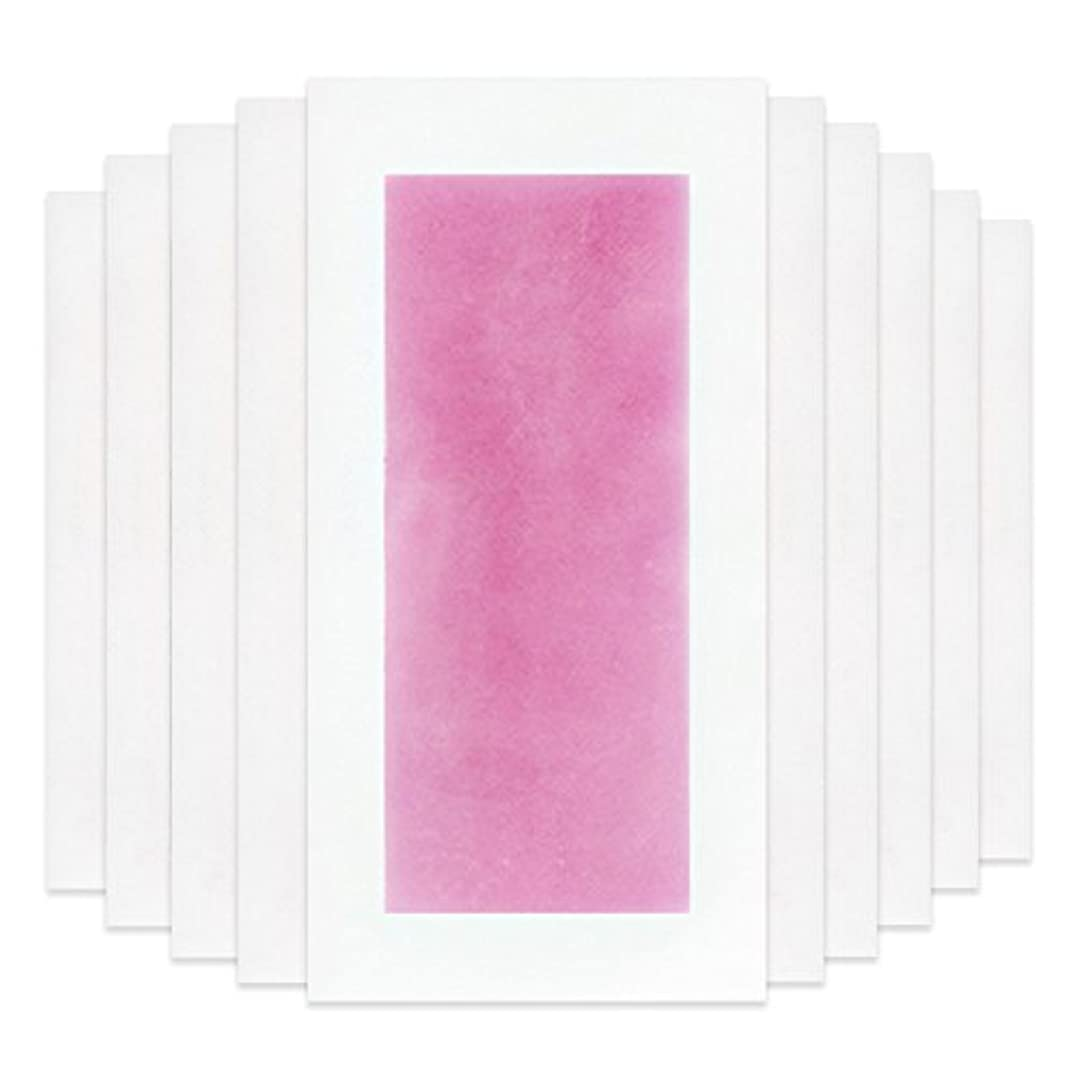 トムオードリースほぼ悔い改めRabugoo セクシー 脚の身体の顔のための10個のプロフェッショナルな夏の脱毛ダブルサイドコールドワックスストリップ紙 Pink