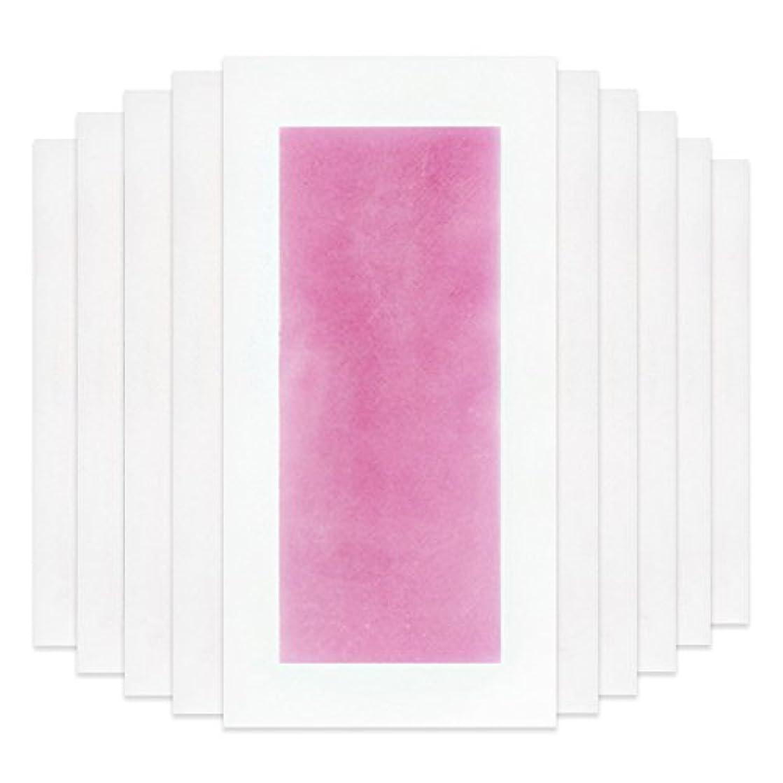 一般的にパッド困惑Rabugoo セクシー 脚の身体の顔のための10個のプロフェッショナルな夏の脱毛ダブルサイドコールドワックスストリップ紙 Pink