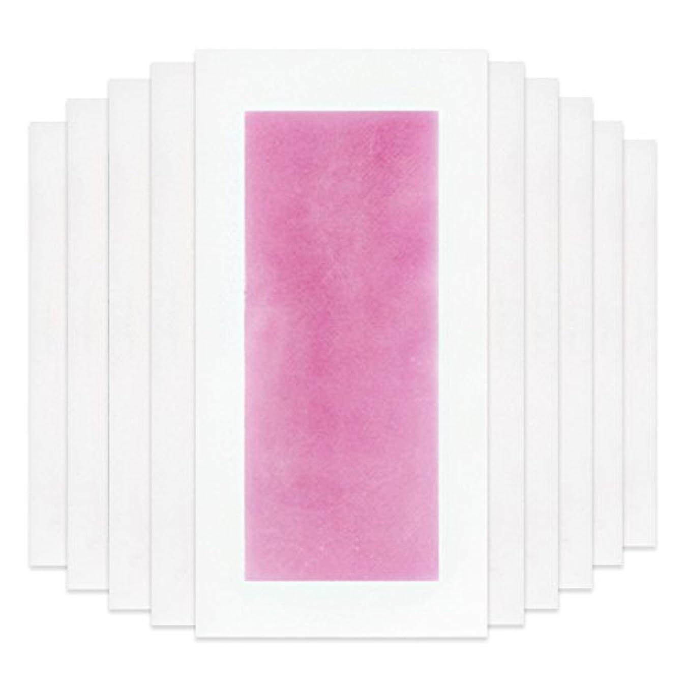 腹穀物社交的Rabugoo セクシー 脚の身体の顔のための10個のプロフェッショナルな夏の脱毛ダブルサイドコールドワックスストリップ紙 Pink