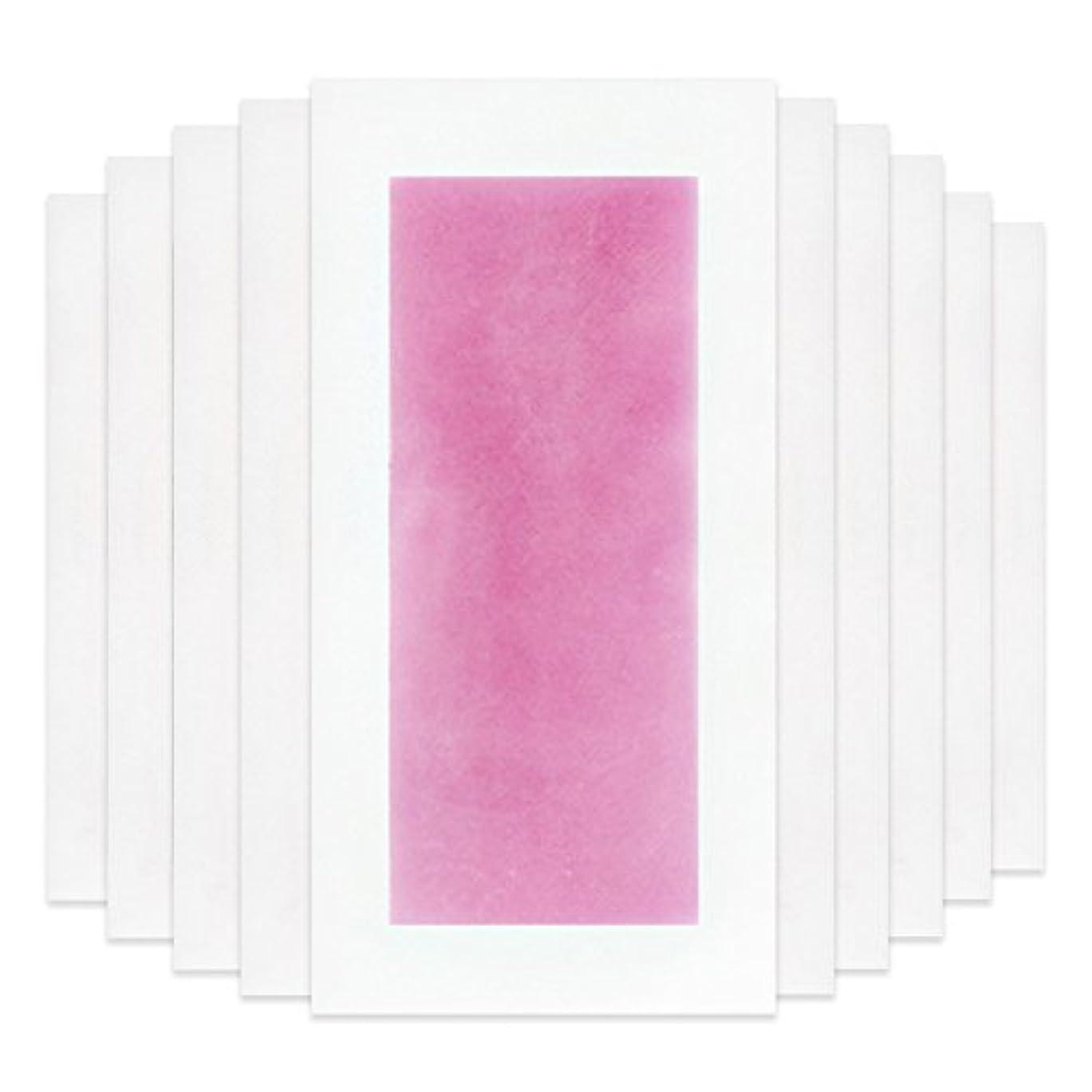 Rabugoo セクシー 脚の身体の顔のための10個のプロフェッショナルな夏の脱毛ダブルサイドコールドワックスストリップ紙 Pink