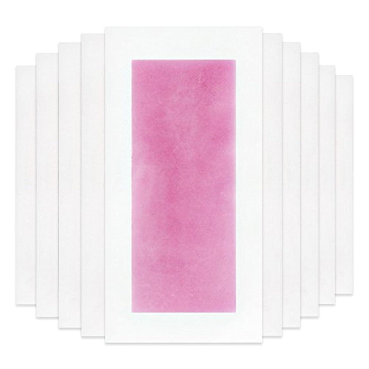微弱建築衣服Rabugoo セクシー 脚の身体の顔のための10個のプロフェッショナルな夏の脱毛ダブルサイドコールドワックスストリップ紙 Pink