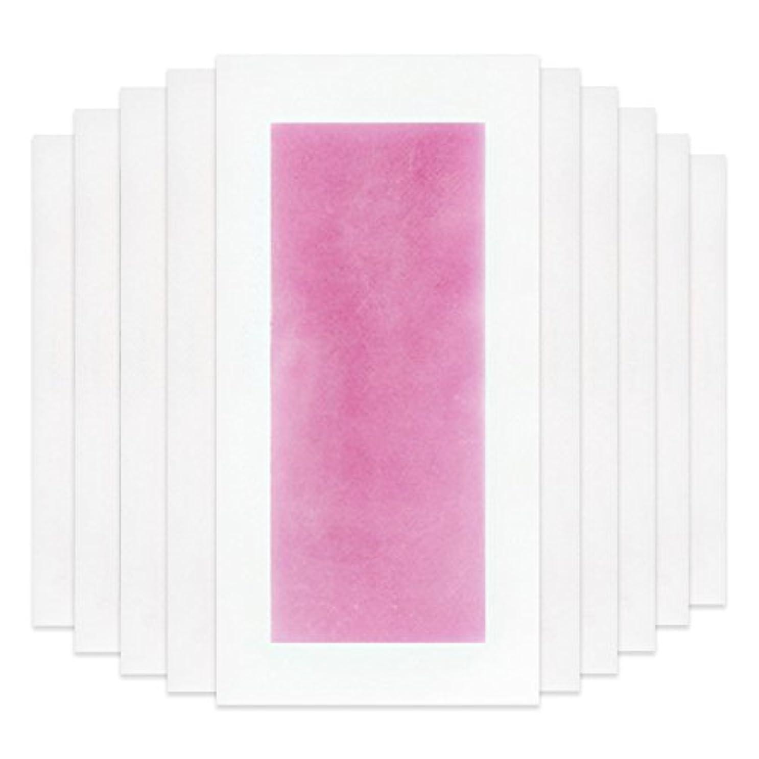 症候群探すおかしいRabugoo セクシー 脚の身体の顔のための10個のプロフェッショナルな夏の脱毛ダブルサイドコールドワックスストリップ紙 Pink