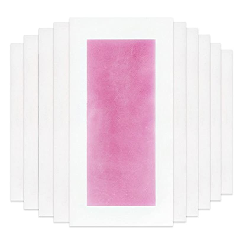 会計耳シマウマRabugoo セクシー 脚の身体の顔のための10個のプロフェッショナルな夏の脱毛ダブルサイドコールドワックスストリップ紙 Pink