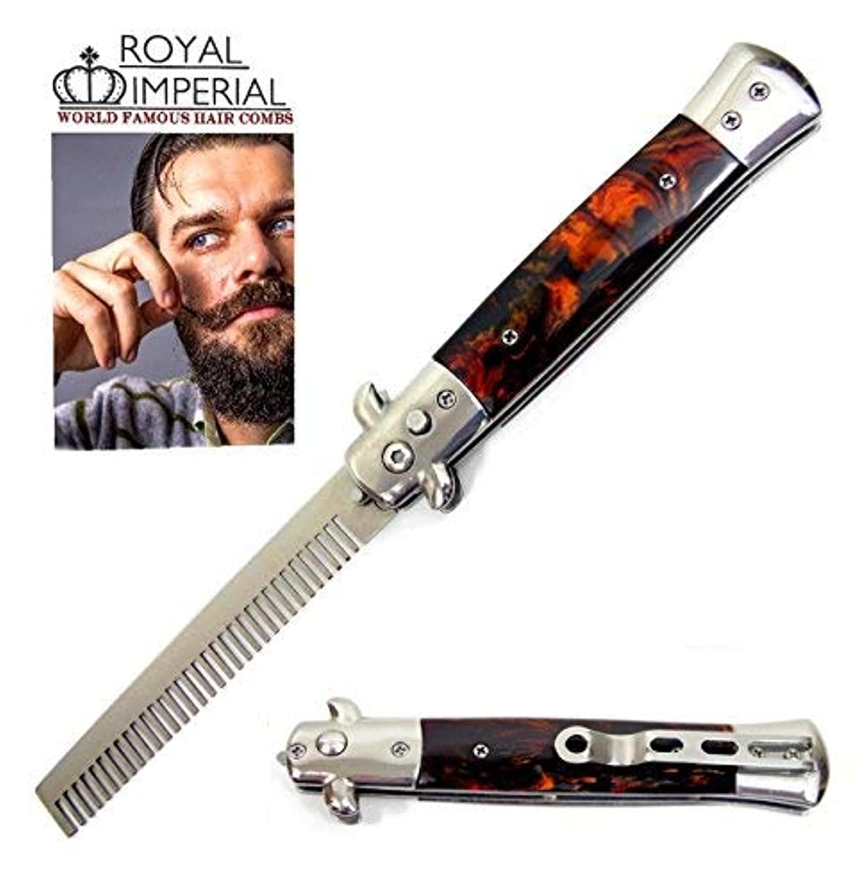 Royal Imperial Metal Switchblade Pocket Folding Flick Hair Comb For Beard, Mustache, Head TORTOISE SHELL FIRE...