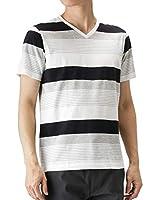 Real Standard(リアルスタンダード) マルチボーダープリントTシャツ 半袖Tシャツ Vネック ボーダー 92-7204P-KJ メンズ ブラック:S
