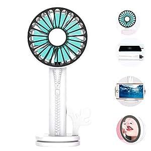 「5in1機能 USB扇風機」Lecone 携帯扇風機 手持ち/卓上両対応 熱中症対策 ミニ扇風機 充電式ファン 強力な風量 羽根7枚 静音 「モバイルバッテリー・スマホスタンド・ミラー機能」「風力3段階調整・2000mAh容量バッテリー」「鏡付き」 (ホワイト)