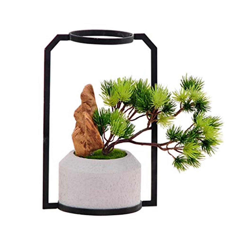 お勧め取り組む例外人工植物 人工歓迎パイン香木小さな鉢植え、偽の花飾りデスクトップミニかわいいクリエイティブ屋内シミュレーション植物人工盆栽 盆栽の木